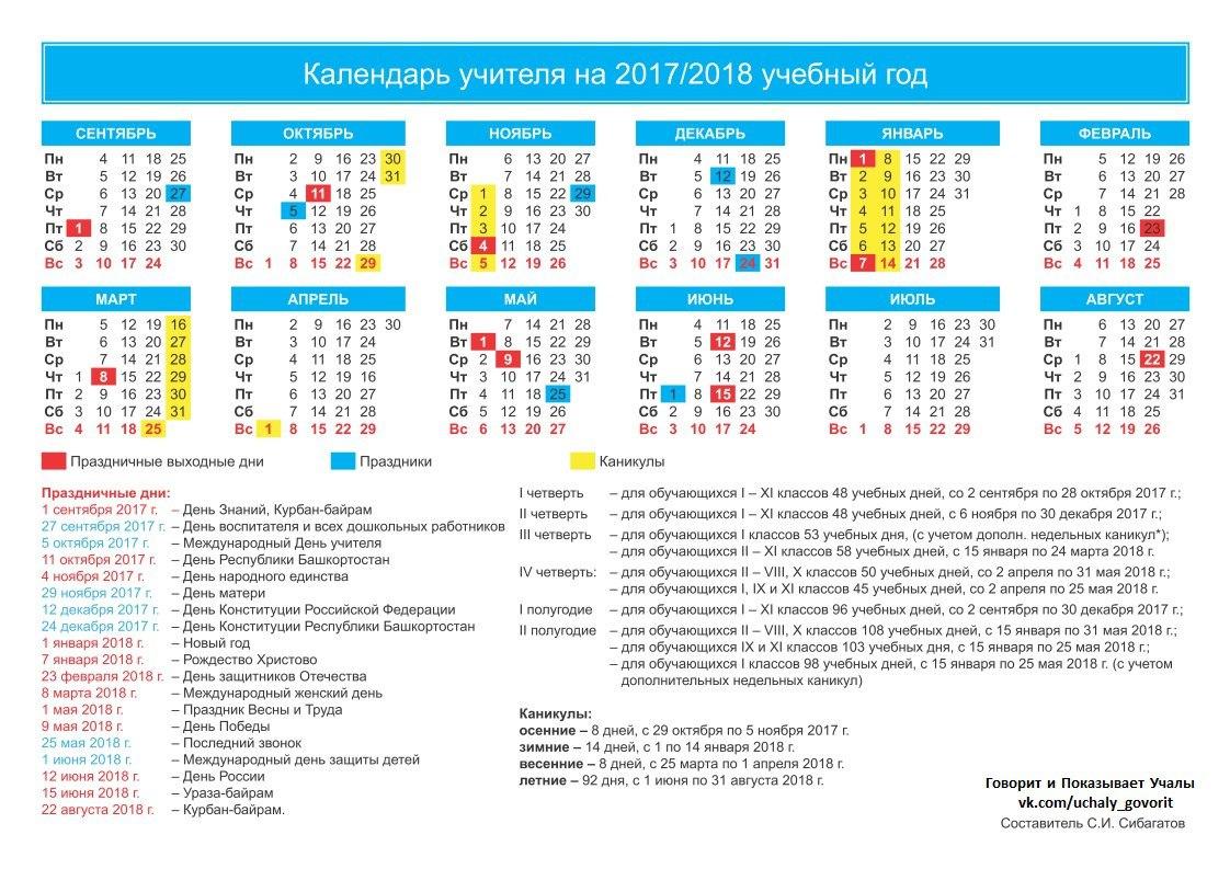 Каникулы в школе в 2018 учебном году